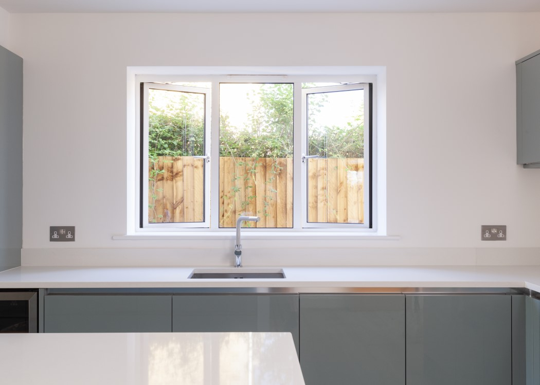 Aluminium window installed in a kitchen
