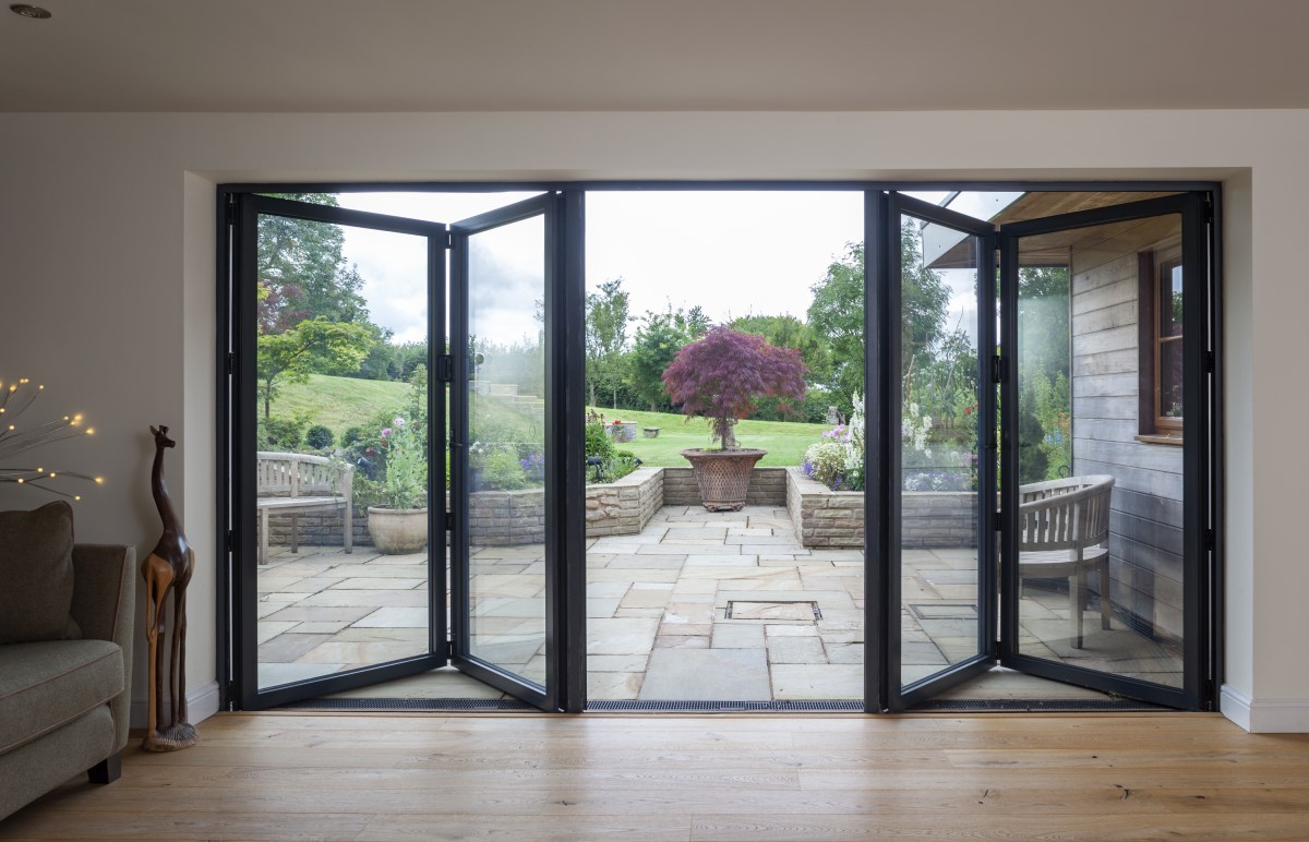 4 Panel bifolding door partly open